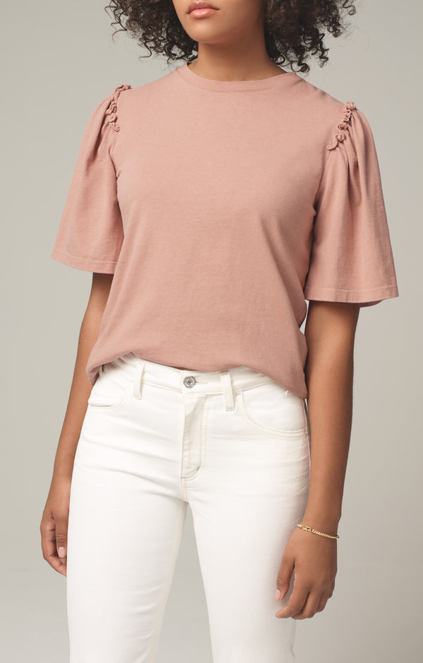 vera gathered shoulder top nectar front