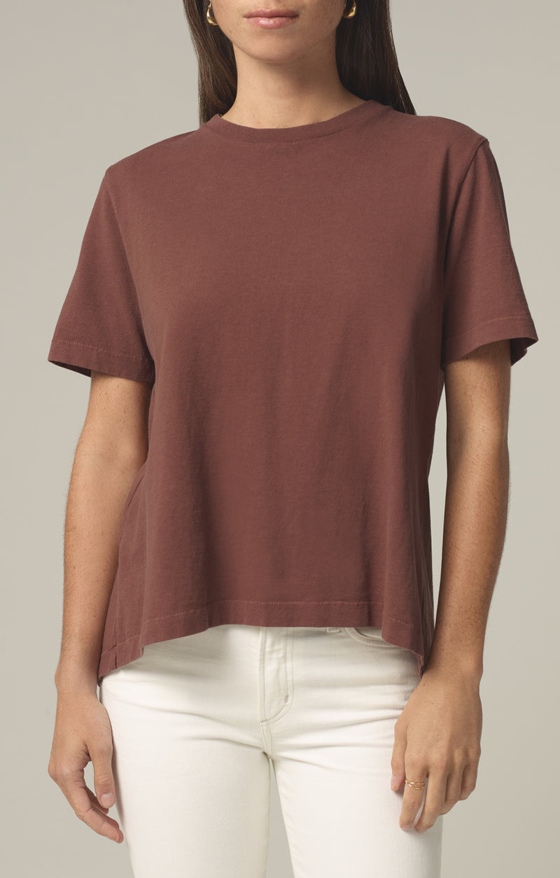lenu back pleat shirt cocoa front
