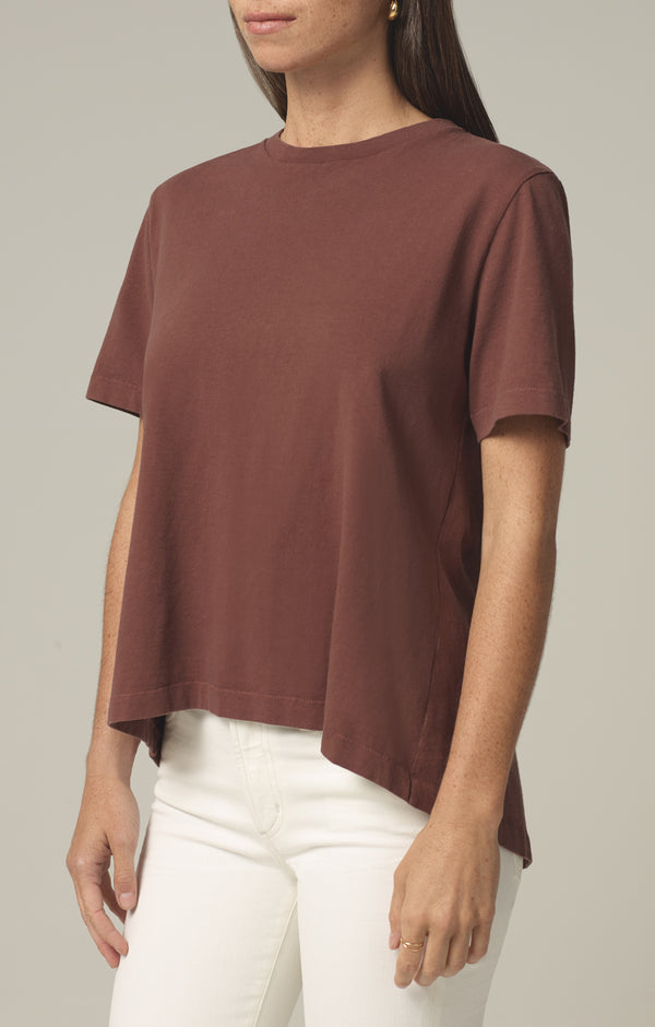 lenu back pleat shirt cocoa side