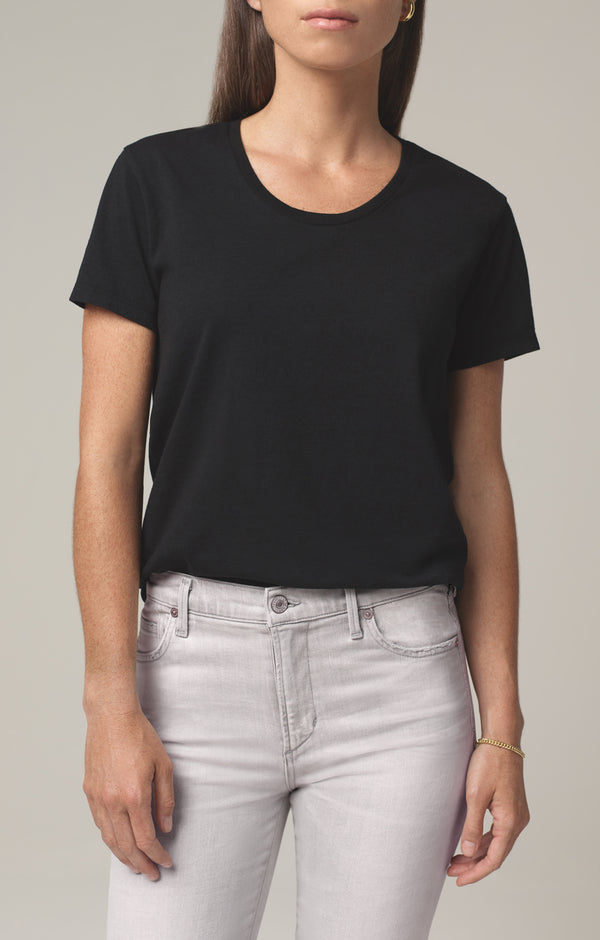 selena scoop neck t shirt black front