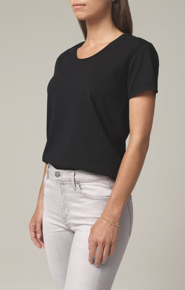 selena scoop neck t shirt black side