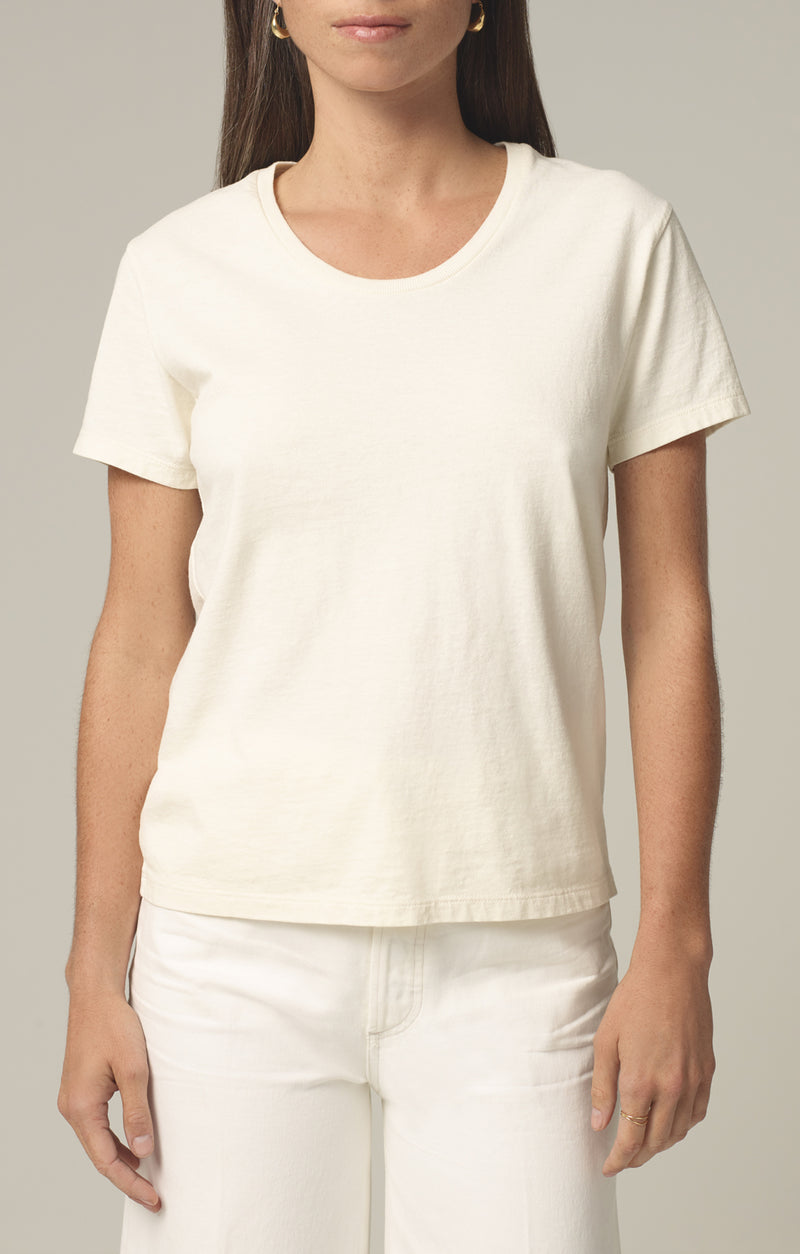 selena scoop neck t shirt vanilla front
