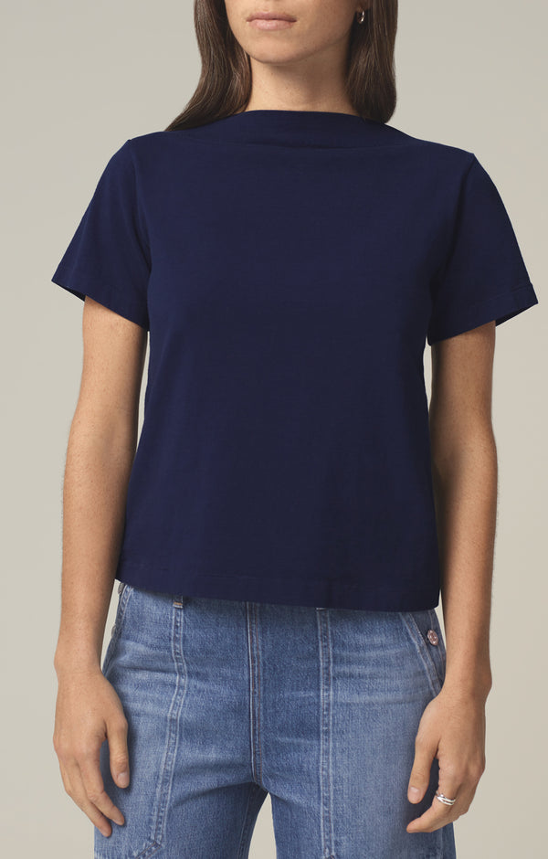 nell boat neck t-shirt royal front