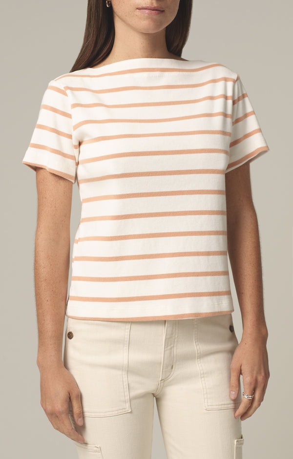 nell boat neck t-shirt penny stripe front