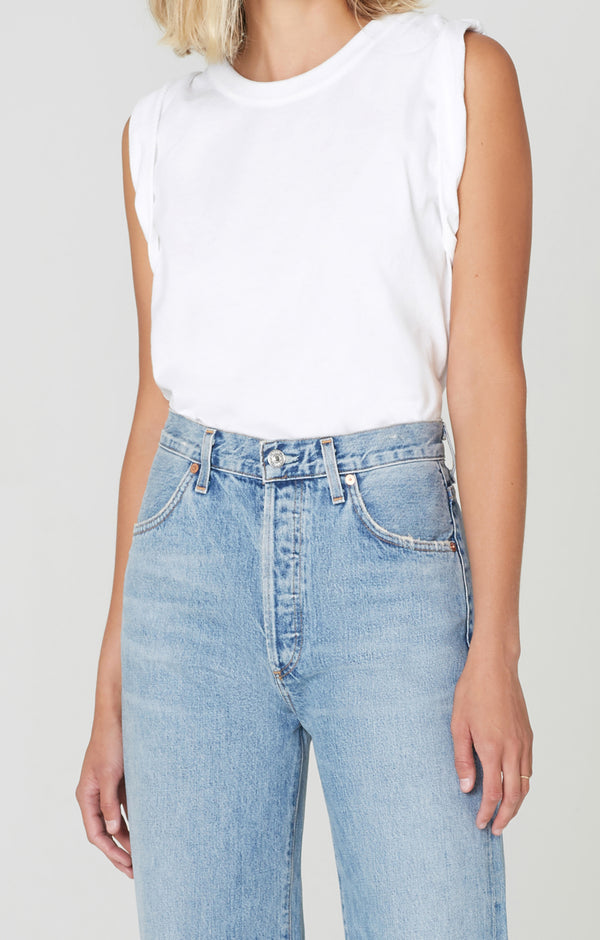 jordana rolled sleeve tee white front