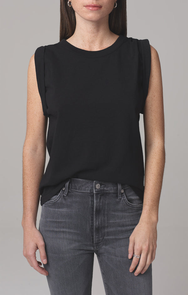 jordana rolled sleeve tee black front
