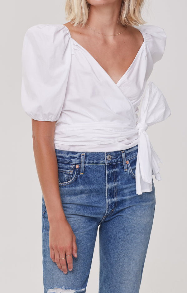 Areli Wrap Top White front