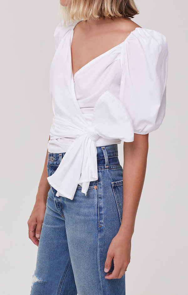 Areli Wrap Top White side