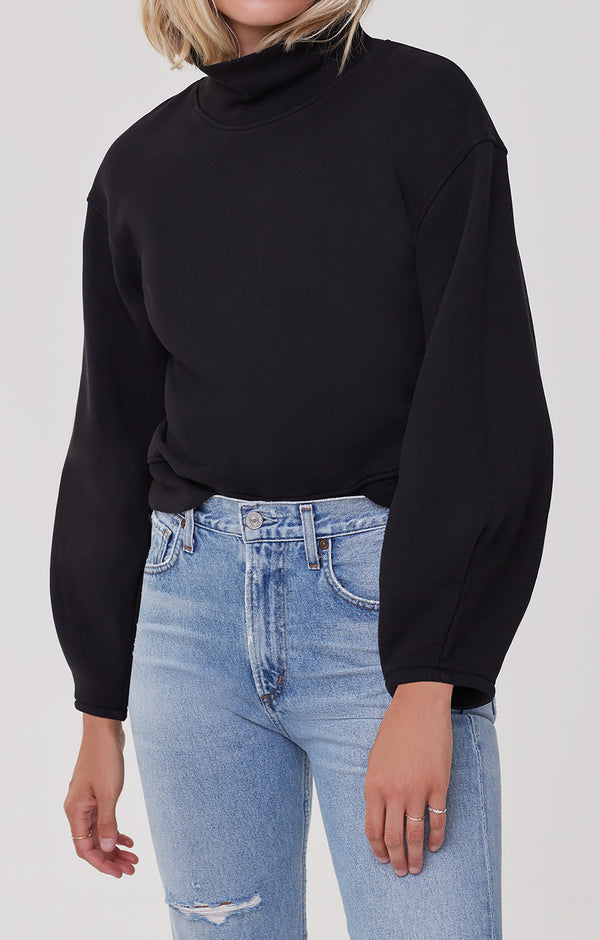 Maya Mock Neck Sweatshirt Black front