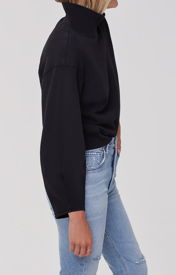 Maya Mock Neck Sweatshirt Black side