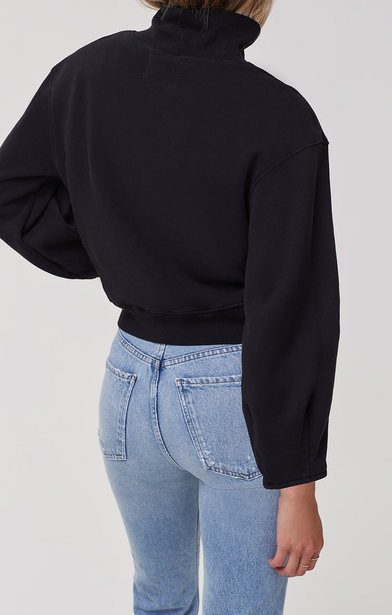 Maya Mock Neck Sweatshirt Black back