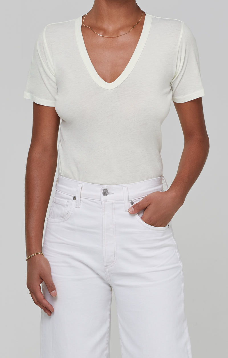 Lilah V Neck Tee in Lemon Drop front