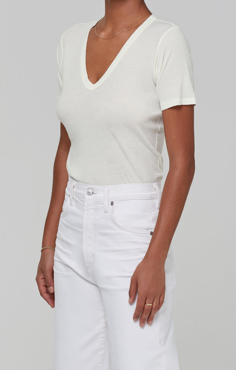 Lilah V Neck Tee in Lemon Drop side