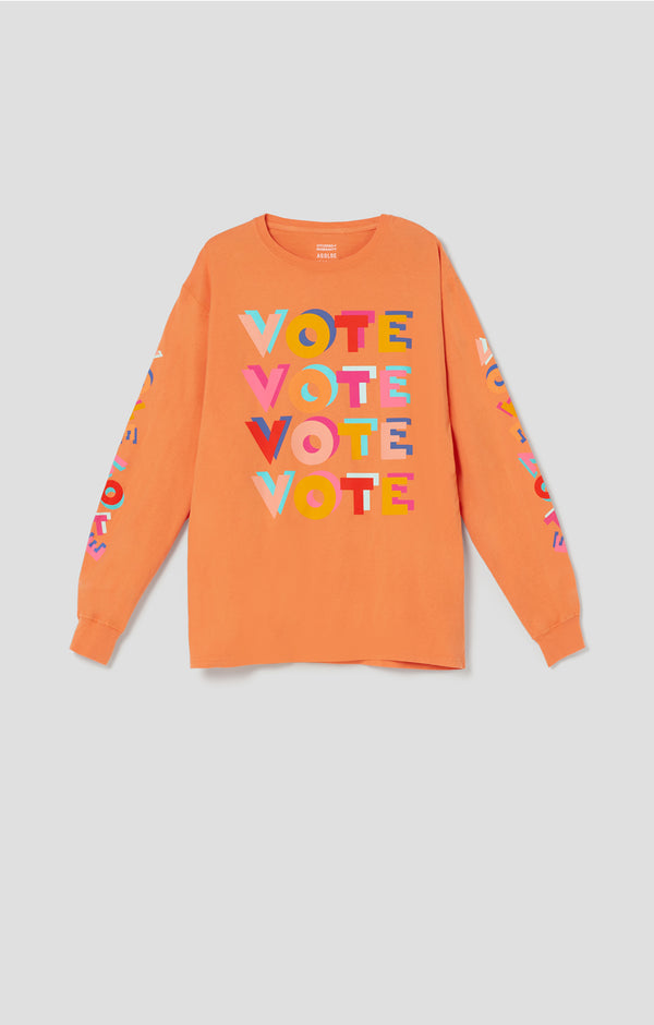 ACLU SoCal x Haas Brothers Long Sleeve Tee Orange You Glad You Didn't Vote Him front