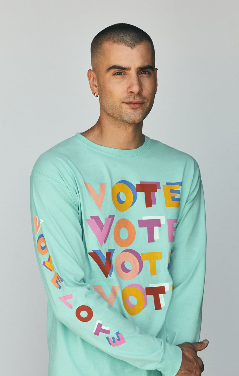 ACLU SoCal x Haas Brothers Long Sleeve Tee Turkwahz & Effect on male model