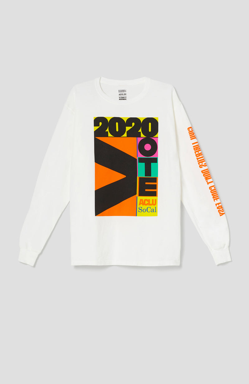 ACLU SoCal x Virgil Normal Long Sleeve Tee White front
