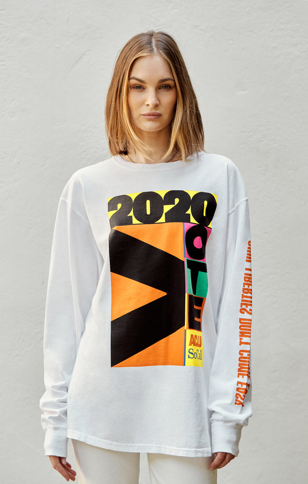 ACLU SoCal x Virgil Normal Long Sleeve Tee White on female model front