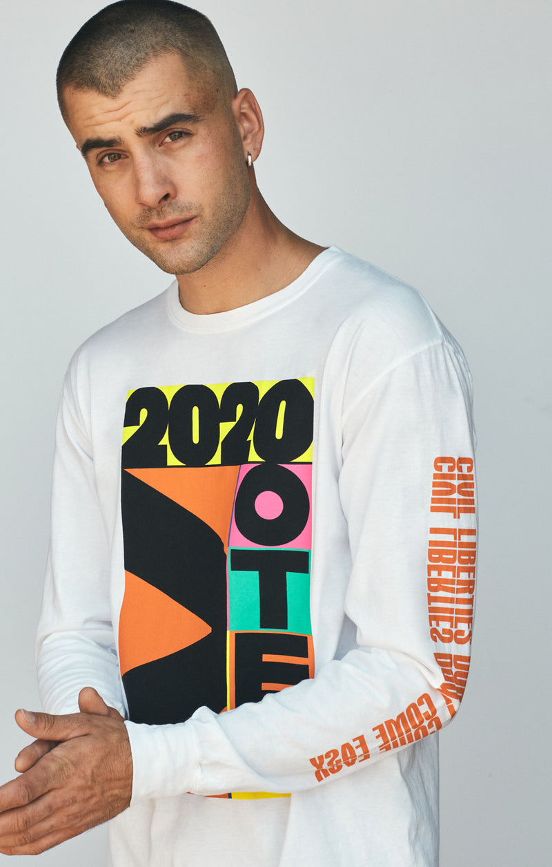ACLU SoCal x Virgil Normal Long Sleeve Tee White on male model front