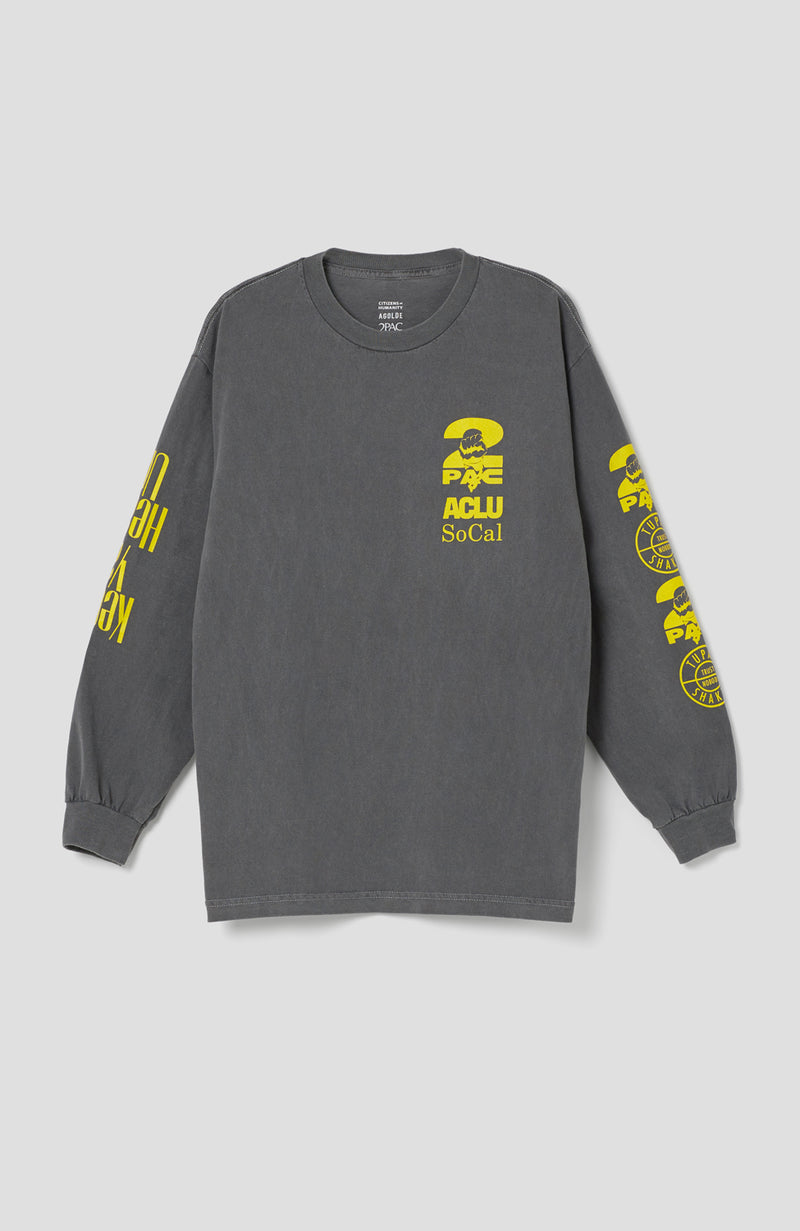 ACLU SoCal x 2Pac Estate Long Sleeve Tee in Smoke front