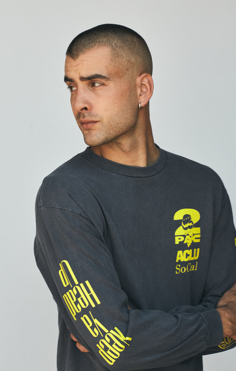 ACLU SoCal x the Estate of Tupac Shakur Tee Smoke on male model front