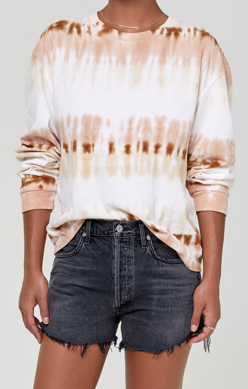 Oversized Long Sleeve Shirt Chai Tie Dye front