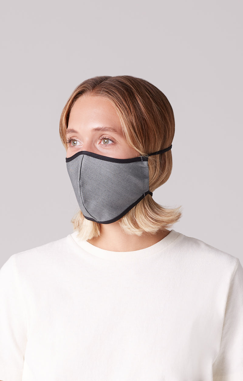 cotton mask 2 pack grey on model