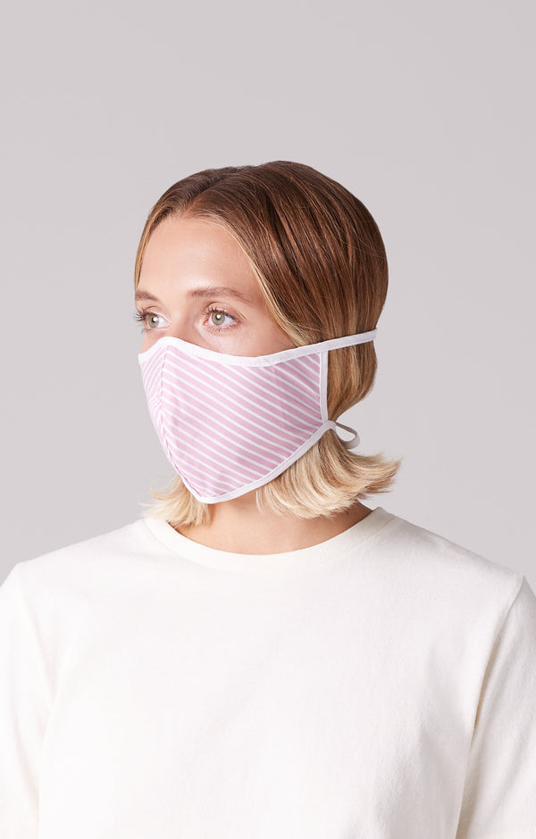 cotton mask 2 pack pink stripe on model
