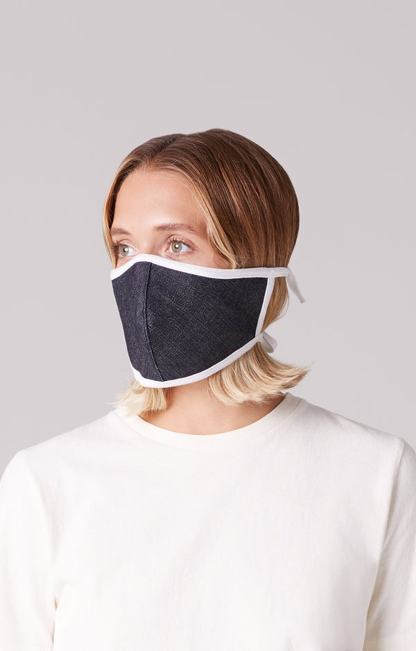 cotton mask dark indigo on model