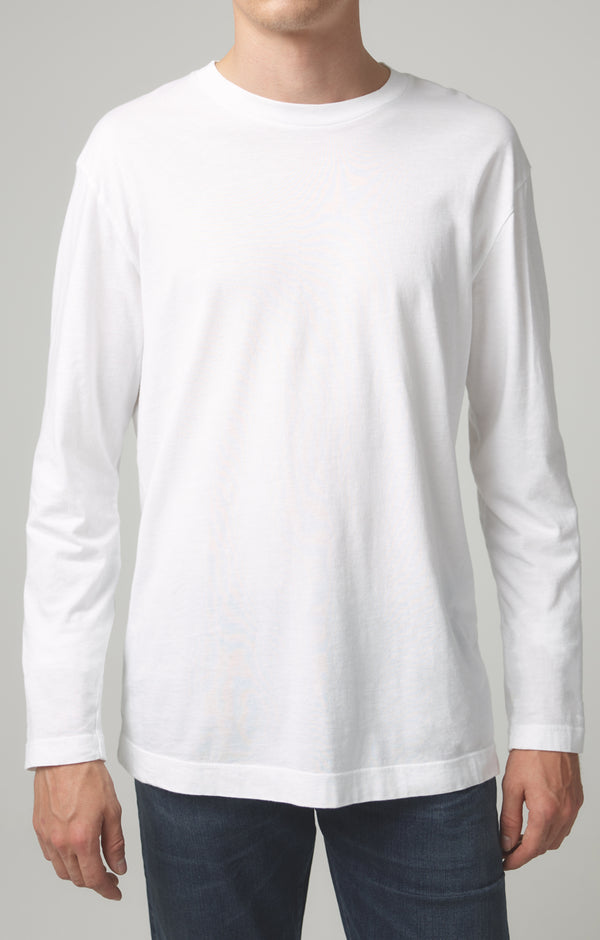 Workday Long Sleeve Tee in White Front