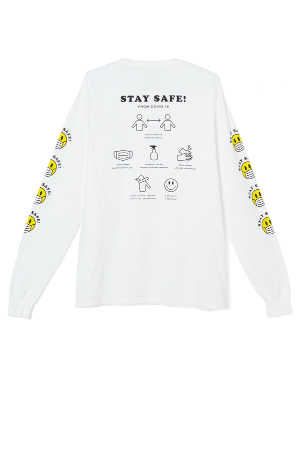 Stay Safe Long Sleeve T-Shirt white back