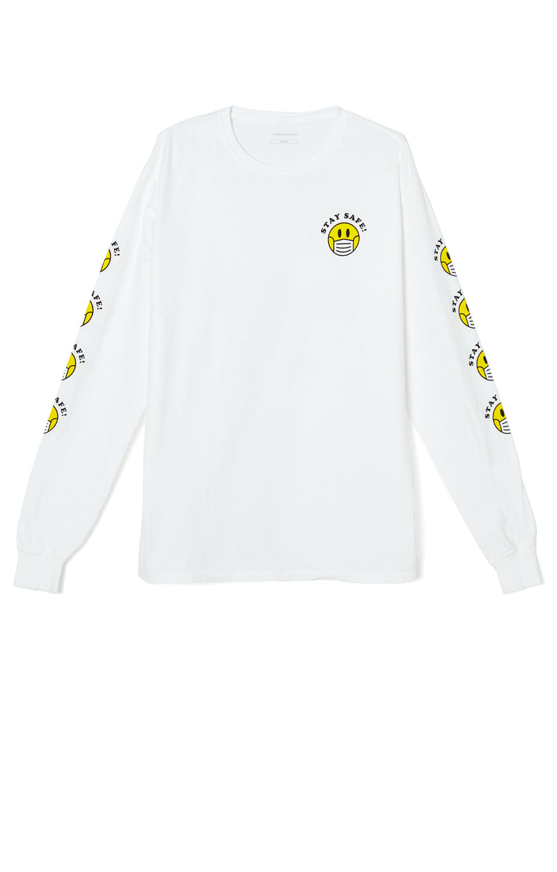 Stay Safe Long Sleeve T-Shirt White front