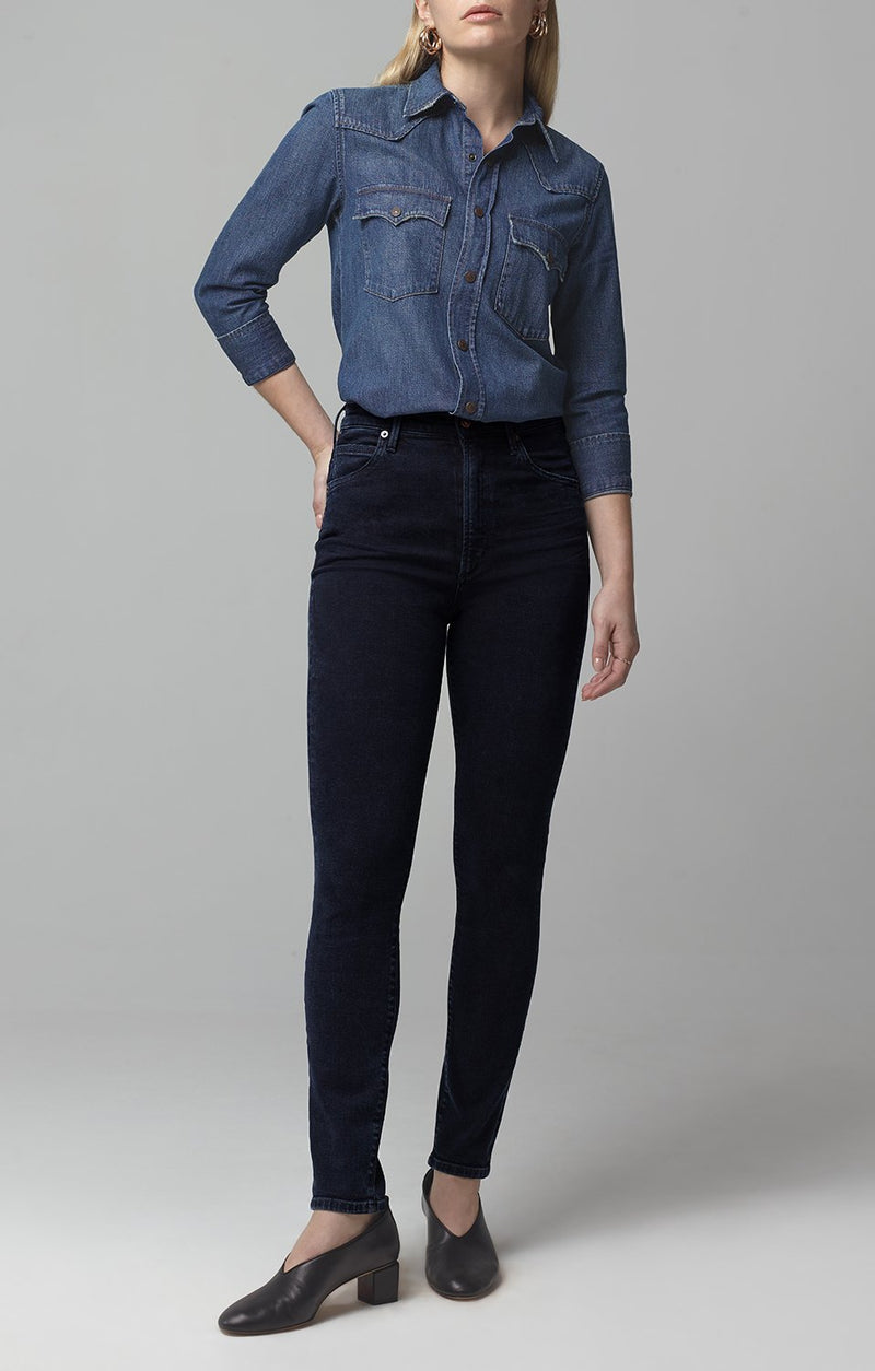 chrissy high rise skinny fit inkwell front