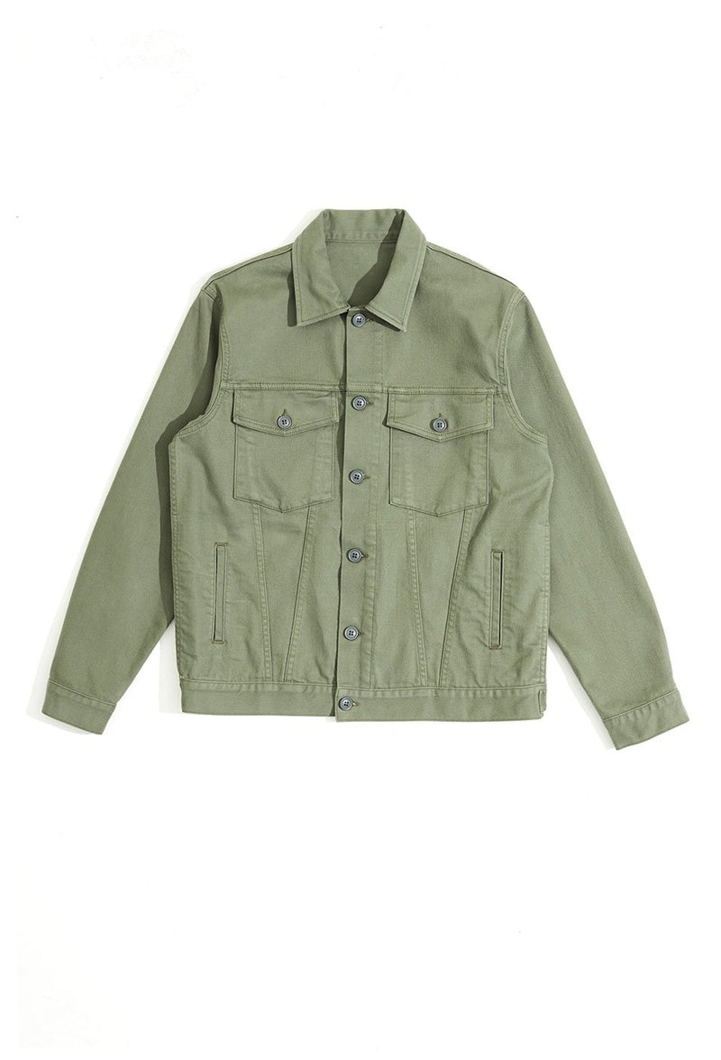 oversized trucker jacket corporal green back