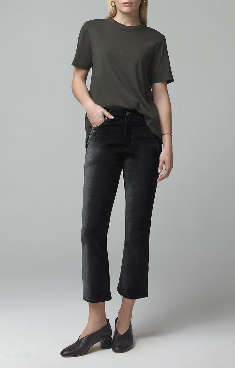 demy cropped flare black velour front