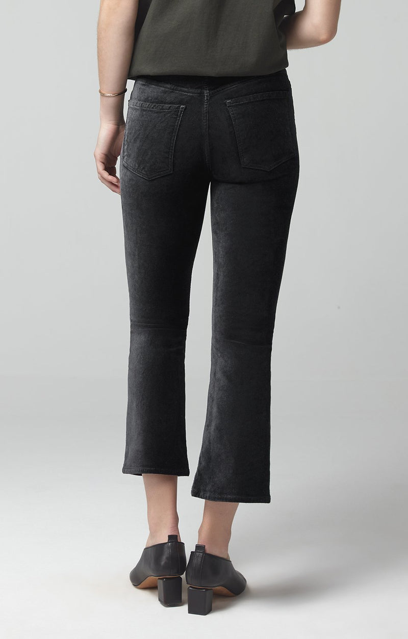 demy cropped flare black velour side