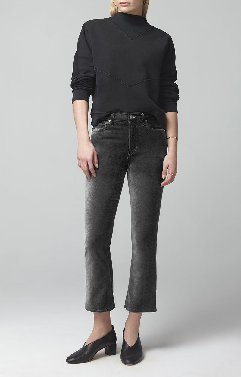 demy cropped flare slate velour front