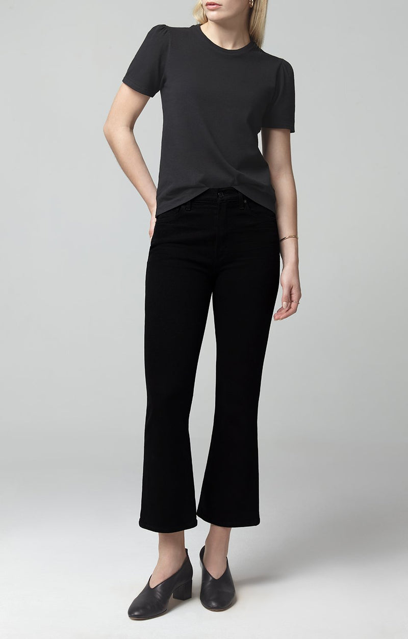 demy cropped flare sueded black front
