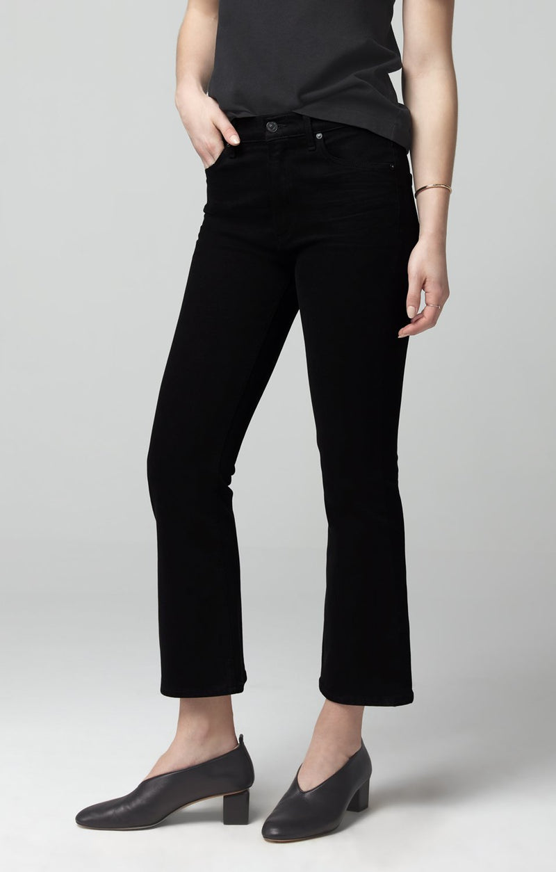 demy cropped flare sueded black back