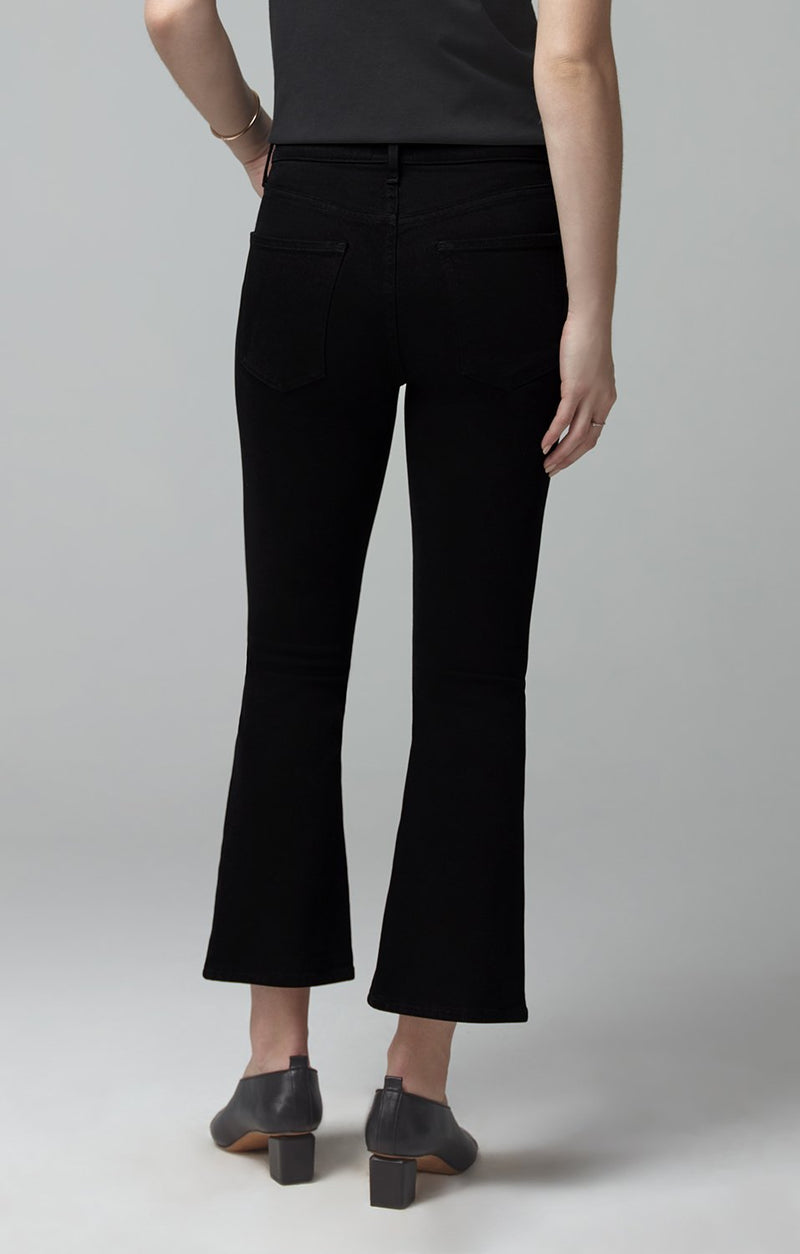 demy cropped flare sueded black side