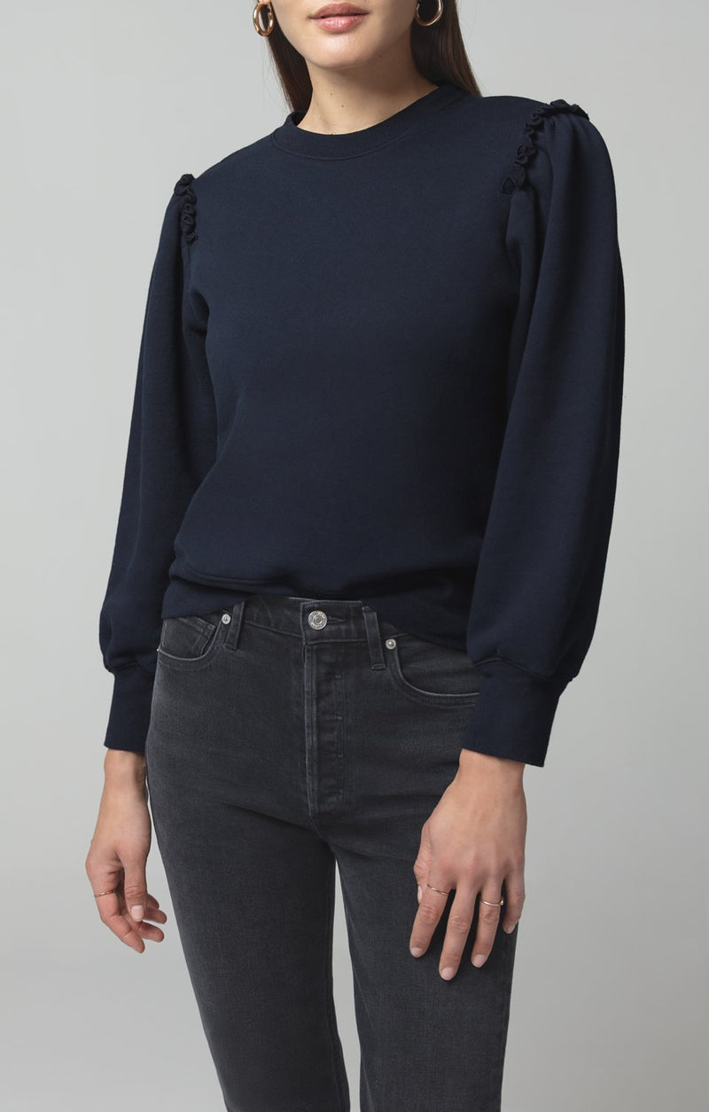 edie puff sleeve sweatshirt navy back