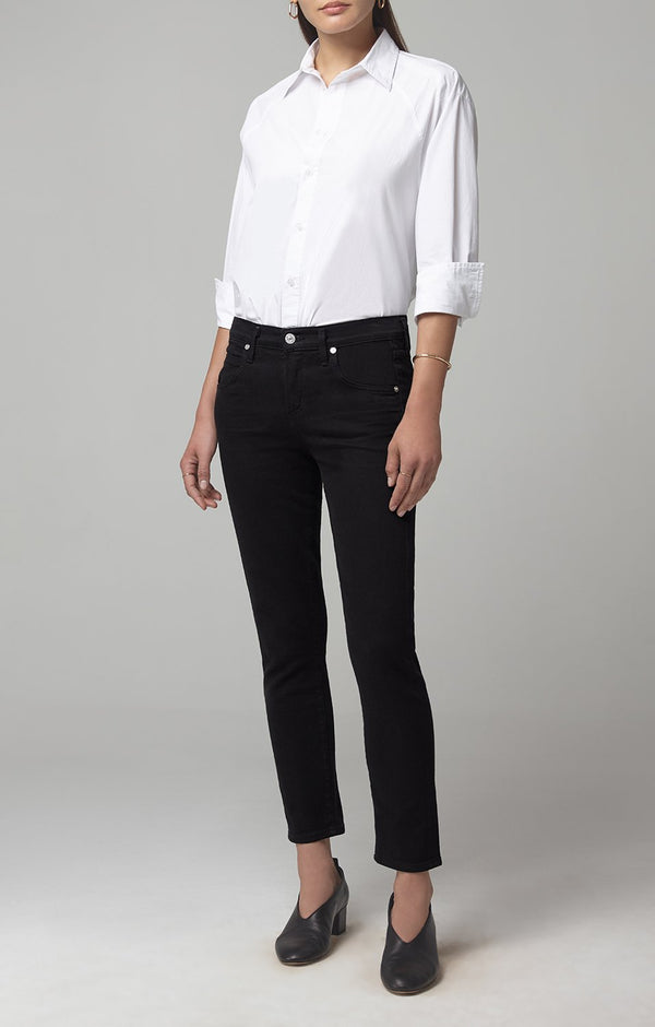 elsa mid rise slim fit crop black front