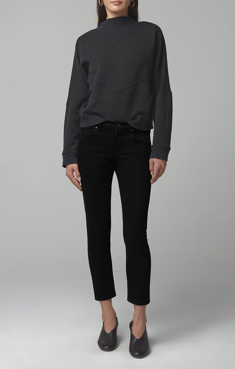 elsa mid rise slim fit crop sueded black front
