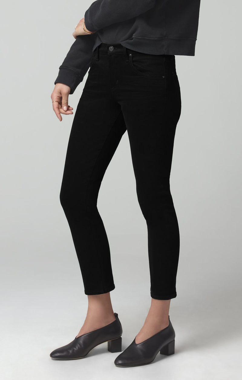 elsa mid rise slim fit crop sueded black back