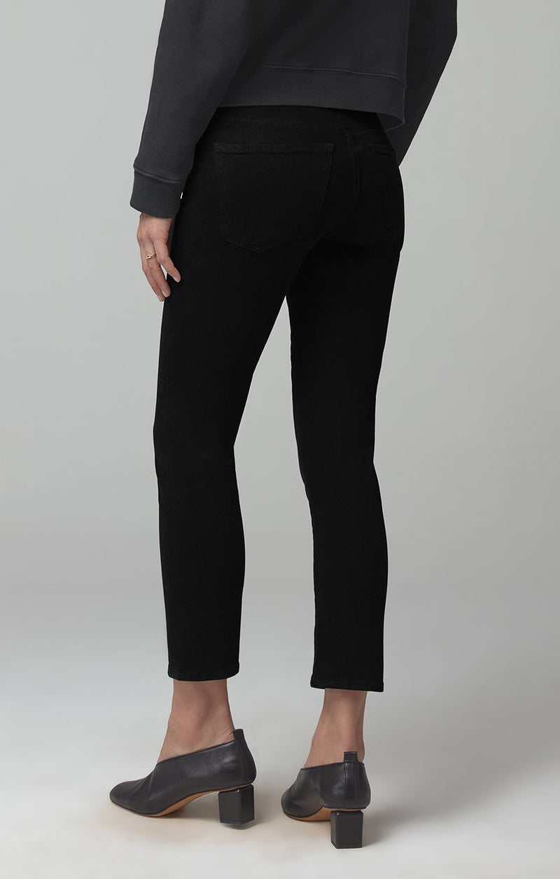 elsa mid rise slim fit crop sueded black side