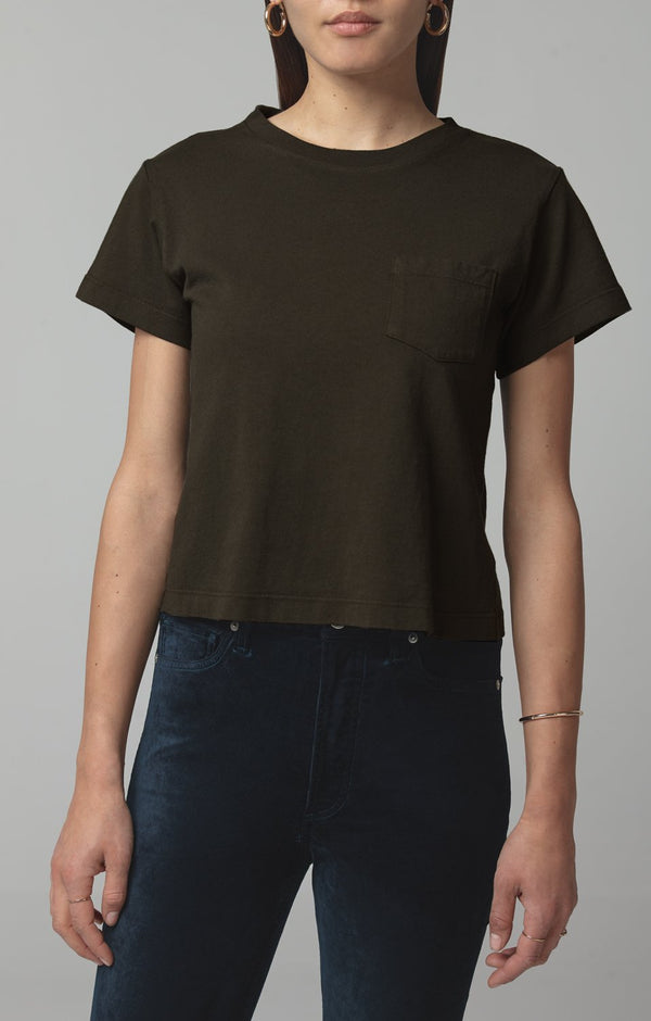 grace pocket tee shirt dark moss back