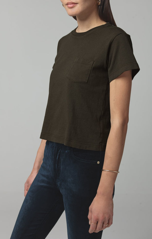 grace pocket tee shirt dark moss side