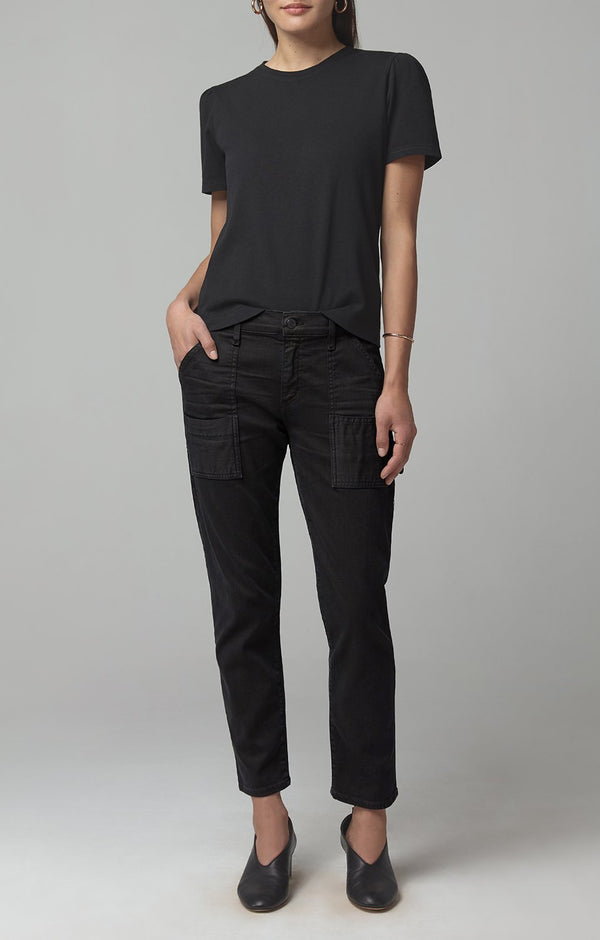 hannah puff sleeve black front