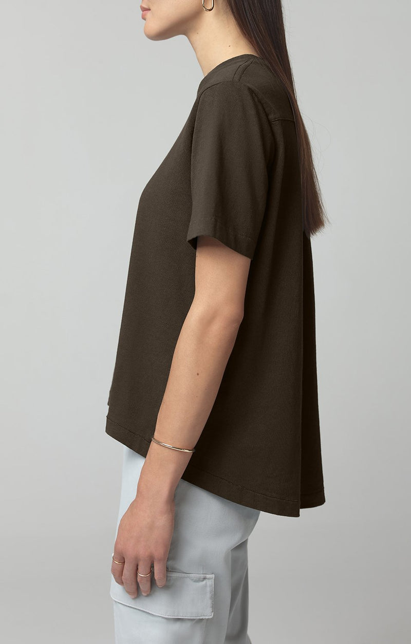lenu back pleat shirt dark moss side