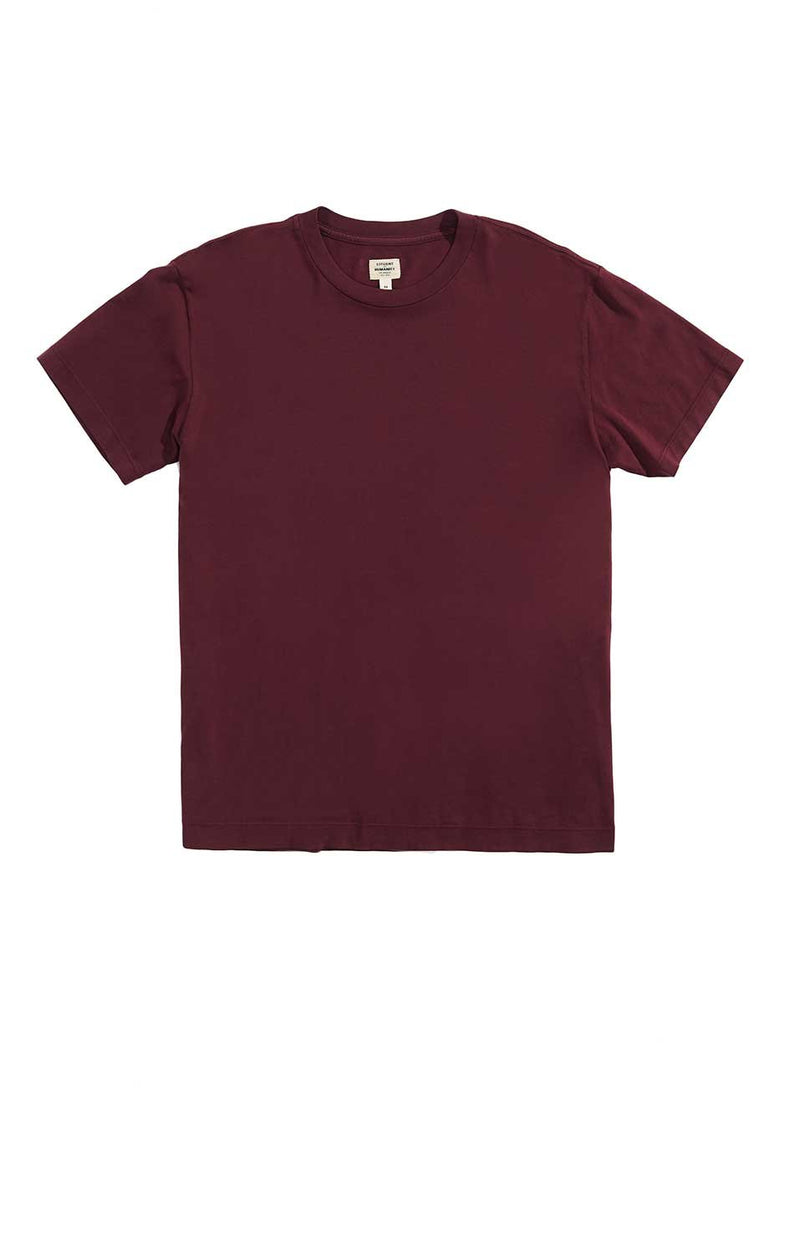 everyday short sleeve tee shirt burgundy side