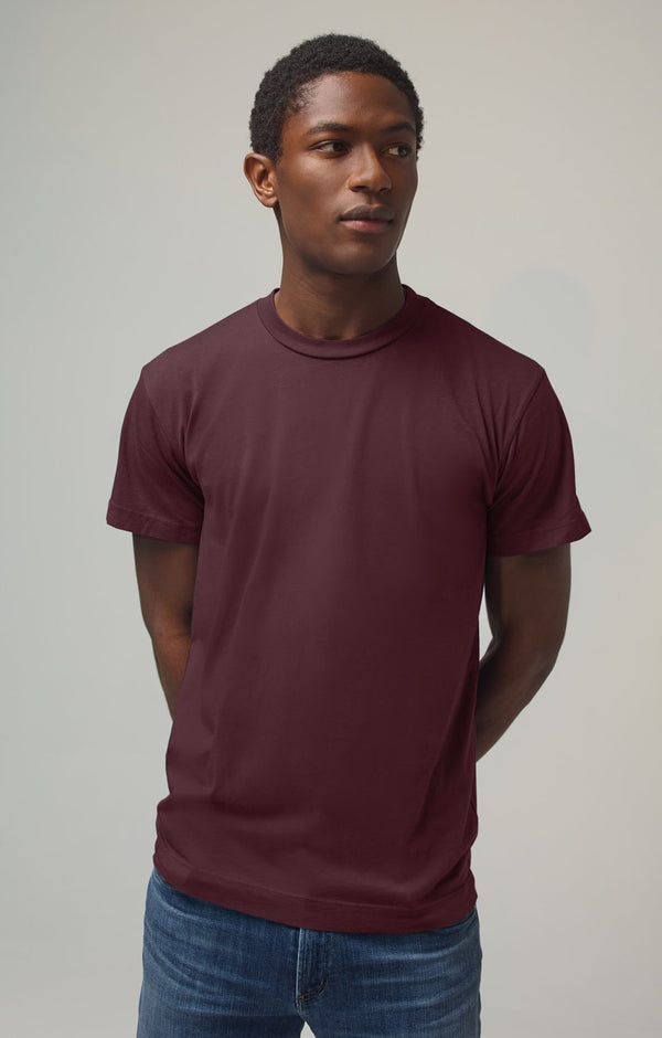 everyday short sleeve tee shirt burgundy front